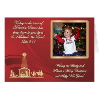 Cartão vermelho da foto do Natal