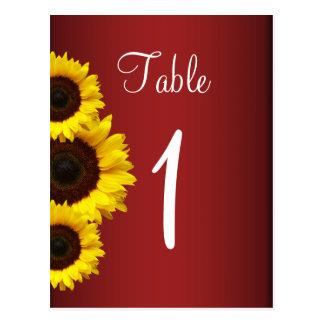 Cartão vermelho da mesa do girassol