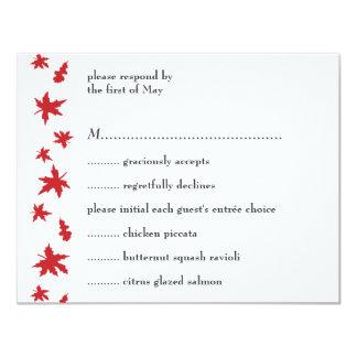Cartão vermelho da resposta/menu das folhas de convite 10.79 x 13.97cm