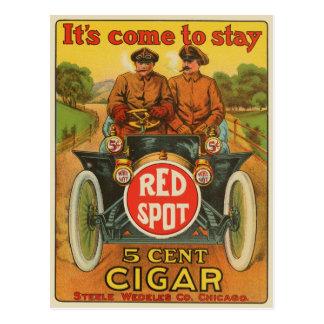 Cartão vermelho do anúncio do charuto do ponto do