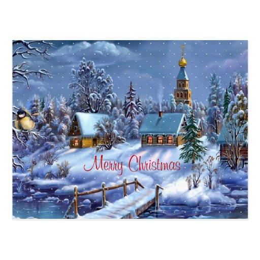 Cartão vermelho do Feliz Natal Cartões Postais