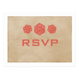 Cartão vermelho do Gamer RSVP dos dados do Grunge