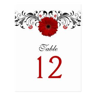 Cartão vermelho do número da mesa da margarida do cartão postal