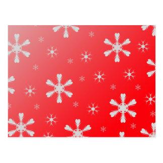 Cartão vermelho dos flocos de neve cartões postais