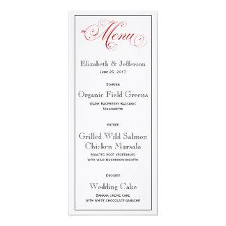 Cartão vermelho elaborado do menu do casamento