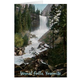 Cartão Vernal de Yosemite do vintage das quedas