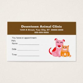 Cartão veterinário da nomeação cartão de visita