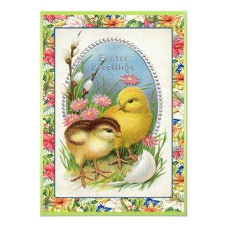 Cartão Victorian dos pintinhos da páscoa do vintage