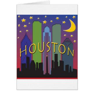 Cartão Vida noturno da skyline de Houston