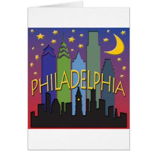 Cartão Vida noturno da skyline de Philadelphfia