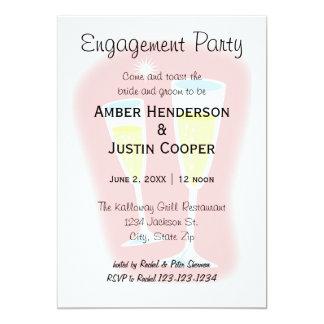 Cartão Vidros de Champagne - festa de noivado