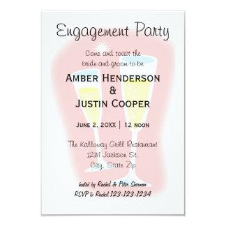 Cartão Vidros de Champagne - festa de noivado 3x5