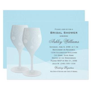 Cartão Vidros de vinho azuis dos elogios do chá de panela