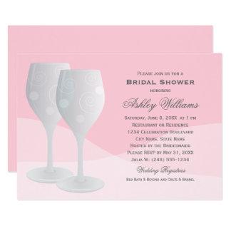 Cartão Vidros de vinho cor-de-rosa dos elogios do chá de