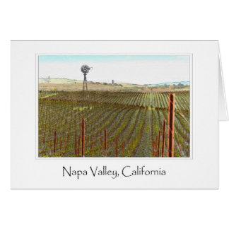Cartão Vinhedo de Napa Valley com moinho de vento