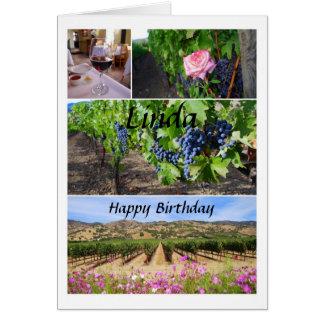 Cartão Vinhedos de Califórnia do feliz aniversario de