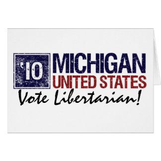 Cartão Vintage Michigan do libertário do voto em 2010 -