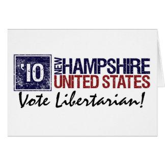 Cartão Vintage New Hampshire do libertário do voto em