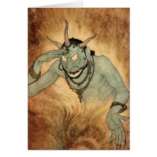 Cartão Vintage o Dia das Bruxas, monstro assustador do