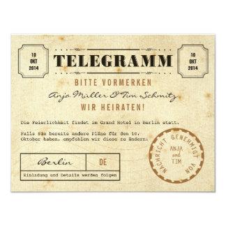 Cartão Vintage telegrama Save Date the