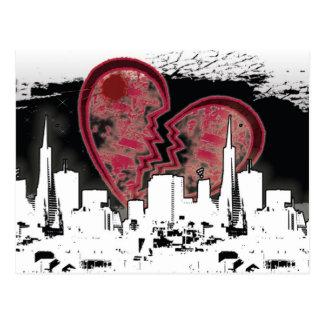 Cartão vivo quebrado coração do Grunge da cidade Cartão Postal