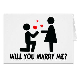 Cartão Você casar-me-á dobrou o homem & a mulher do