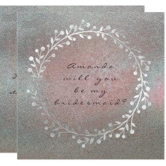 Cartão Você será meu Pin de prata sujo da grinalda da