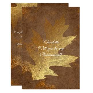 Cartão Você será minha dama de honra? Folha de ouro