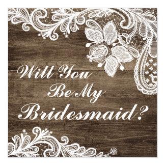 Cartão Você será minha dama de honra? Madeira & laço