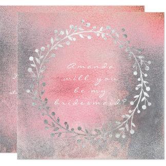 Cartão Você será minha escova do rosa da grinalda da