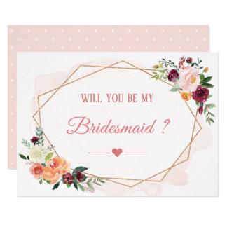 Cartão Você será minha flor moderna da dama de honra