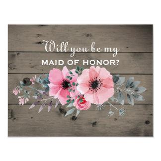 Cartão Você será minha madrinha de casamento da madrinha
