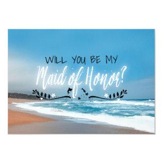 Cartão Você será minha madrinha de casamento da praia da