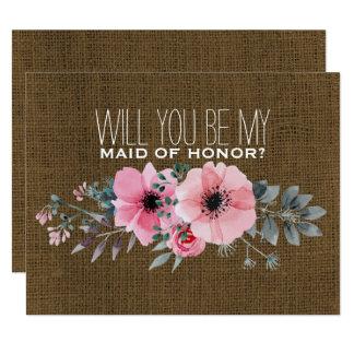 Cartão Você será minha madrinha de casamento de