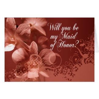 Cartão Você será minha madrinha de casamento? Orquídeas e
