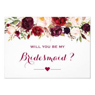 Cartão Vontade floral vermelha de Borgonha você seja