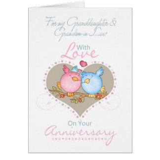 Cartão W da neta & do aniversário da Neto-em-Lei