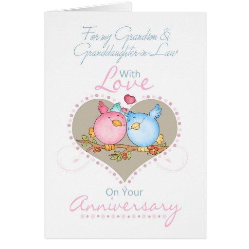 Cartão W do neto & do aniversário da Neta-em-Lei