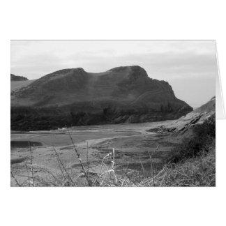 Cartão Watermouth, Devon, Reino Unido. Preto e branco.