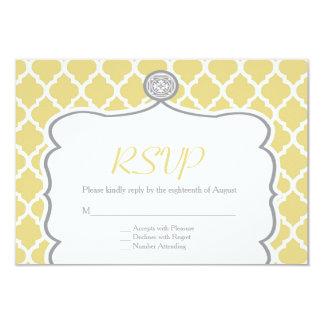 Cartão Wedding amarelo de Quatrefoil RSVP Convite 8.89 X 12.7cm