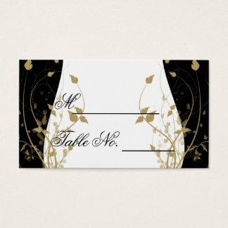 Cartão Wedding curvado floral do lugar do ouro