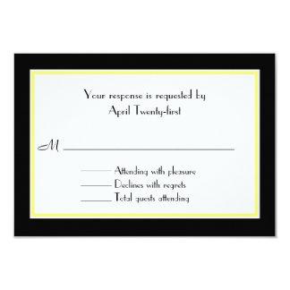 Cartão Wedding preto, branco, & amarelo de RSVP Convite 8.89 X 12.7cm