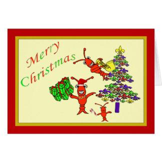 Cartão Xmas bonito da árvore da flor de lis da lagosta