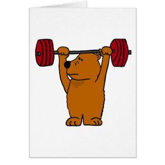 Cartão XX- levantamento de peso engraçado do urso de