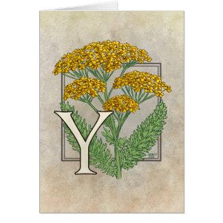 Cartão Y para o alfabeto da flor do Yarrow