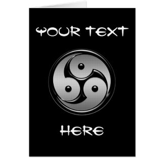 Cartão Yin triplo Yang - metal & preto lustroso