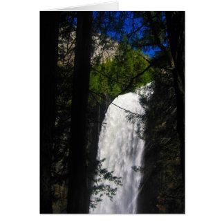 Cartão Yosemite Falls através das árvores