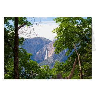 Cartão Yosemite Falls superior com folhas (mensagem feita