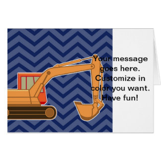 Cartão Ziguezague Chevron do Backhoe do transporte - azul