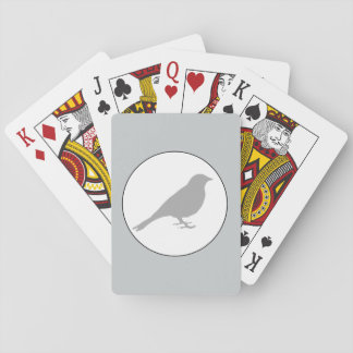 Cartas De Baralho Cartões de jogo cinzentos do pássaro cinzento
